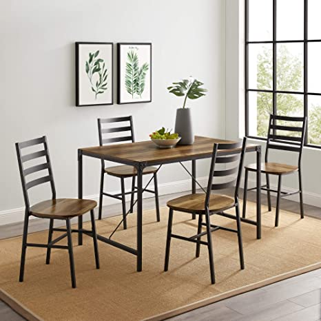 Amazon Com Walker Edison Person Rectangle Kitchen Table Modern Industrial Farmhouse Wood Dining Chairs Set Reclaimed Barnwood Furniture Decor