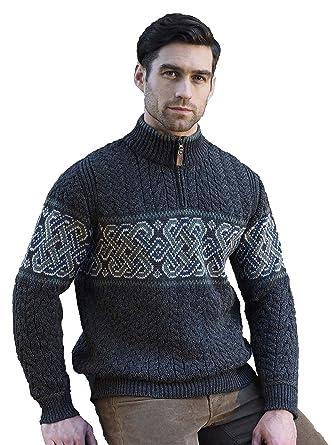 4c0ab686b Amazon.com  Carrolls Irish Gifts Men s Half-Zipped Jacquard Sweater with Celtic  Knitted Design