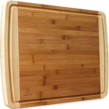 """Indigo True Extra Large Bamboo Cutting Boards for Kitchen with Deep Juice Groove - 17.5"""" x 13.5"""" x 0.75"""