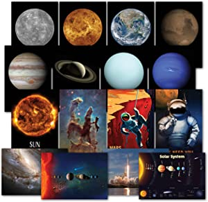Solar System Poster Kit - Set of 16 Space Posters of The Planets, Hubble Telescope Photos, NASA Images, Astronomy, Outer Space & Astronaut Wall Art Decor 13 x 19 (Paper)
