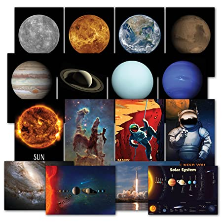 Solar System Poster Kit – Set of 16 Space Posters of The Planets, Hubble Telescope Photos, NASA Images, Astronomy, Outer Space Astronaut Wall Art Decor 13 x 19 Paper