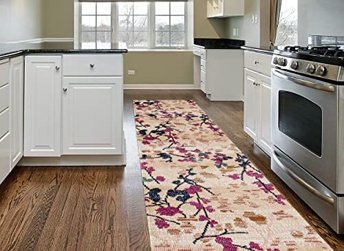 Distressed Abstract Multi Soft Area Rug 2 x 7 2 , Cream