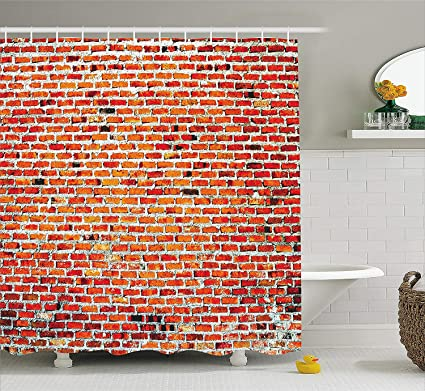 Rustic Home Decor Shower Curtain By Ambesonne Brick Wall With Decorative Bricks Grunge Style Rampart