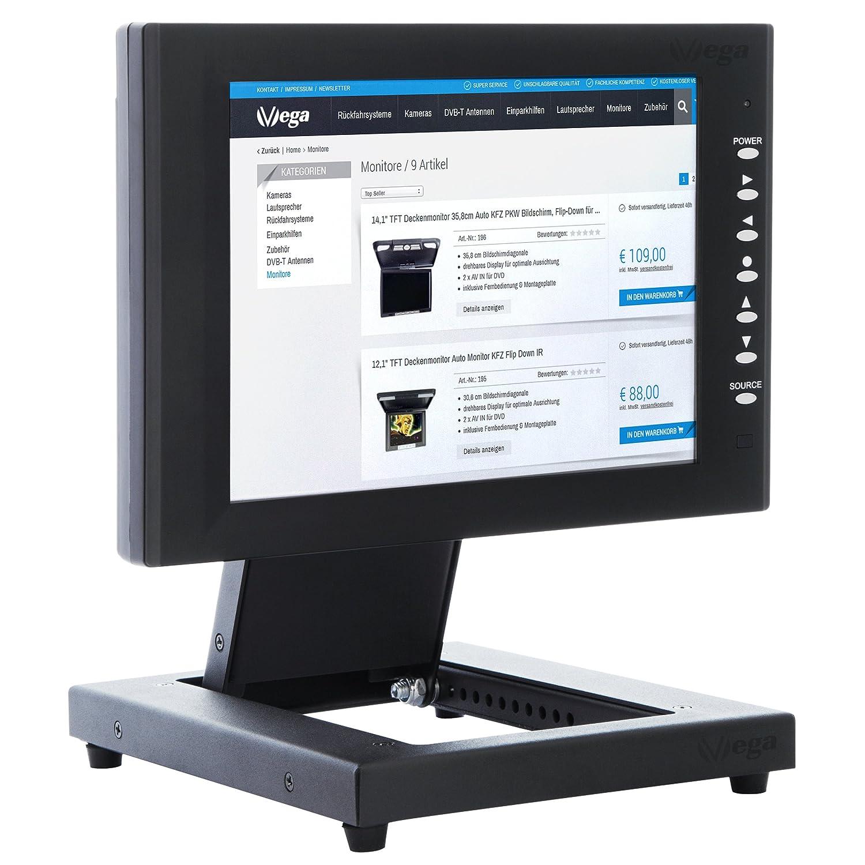 VSG® Supporto stabile per touchscreen POS e monitor PC / 10- 22 pollici / regolabile / intelaiatura in paglietta / peso netto elevato / VESA 100 & 75 / supporto da tavolo / supporto display VSG ® 92005