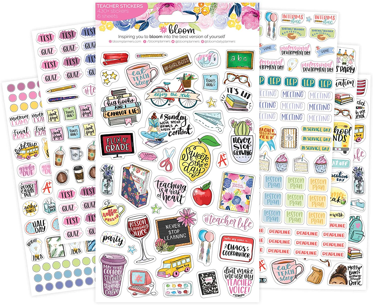 bloom daily planners New Teacher Planner Sticker Pack - School Themed Planning Sticker Sheets - 430 Stickers per Pack!