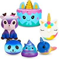 R.HORSE Jumbo Cute Narwhal Cake, Unicorn Donut, Galaxy Panda, Deer, Dolphin, Excrement Set Kawaii Cream Scented Squishy Soft Decompression Squeeze Toys for Kids or Stress Relief Toy (6 Pack)