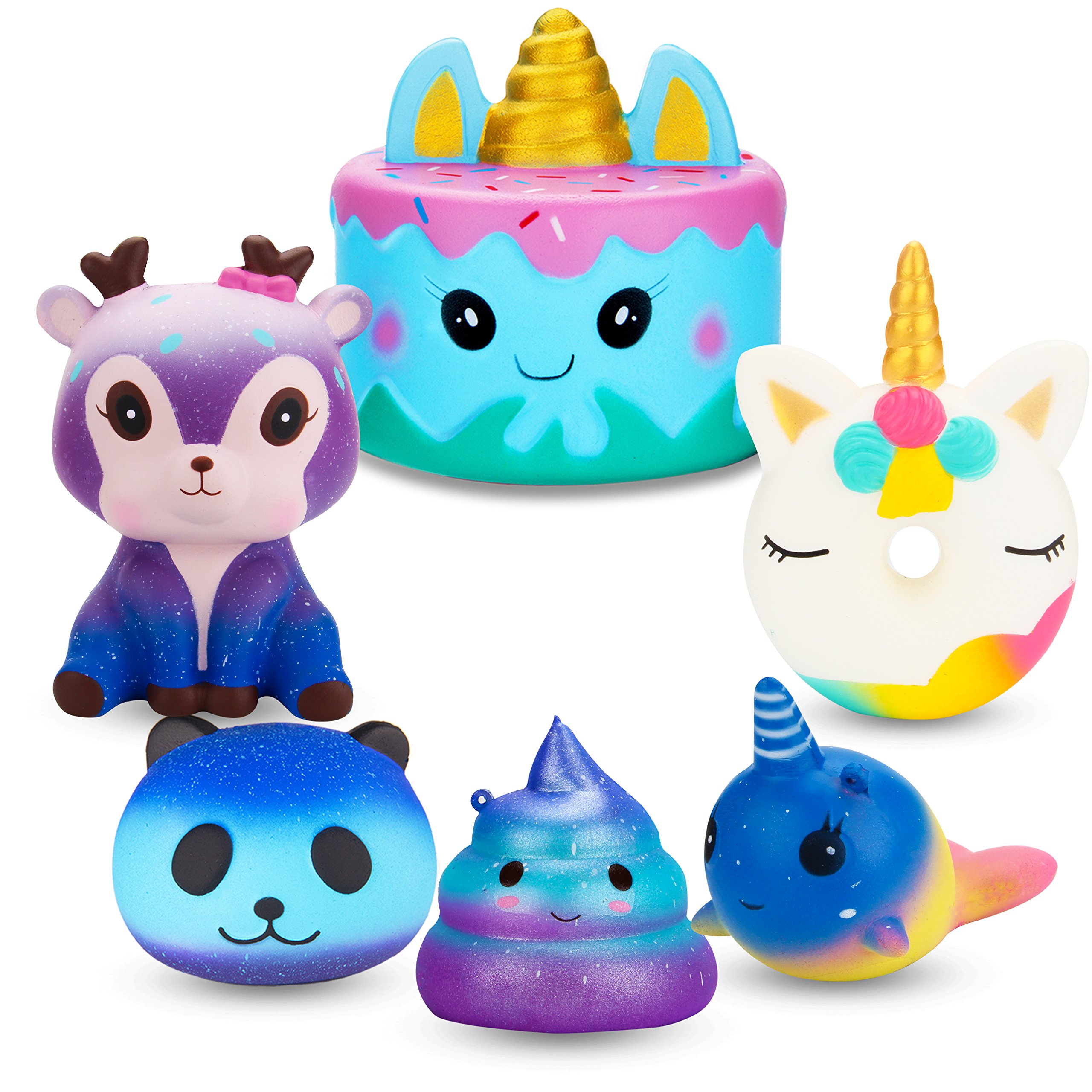 R HORSE Jumbo Cute Narwhal Cake, Unicorn Donut, Galaxy Panda, Deer, Dolphin, Excrement Set Kawaii Cream Scented Squishies Slow Rising Decompression Squeeze Toys for Kids or Stress Relief Toy (6 Pack)