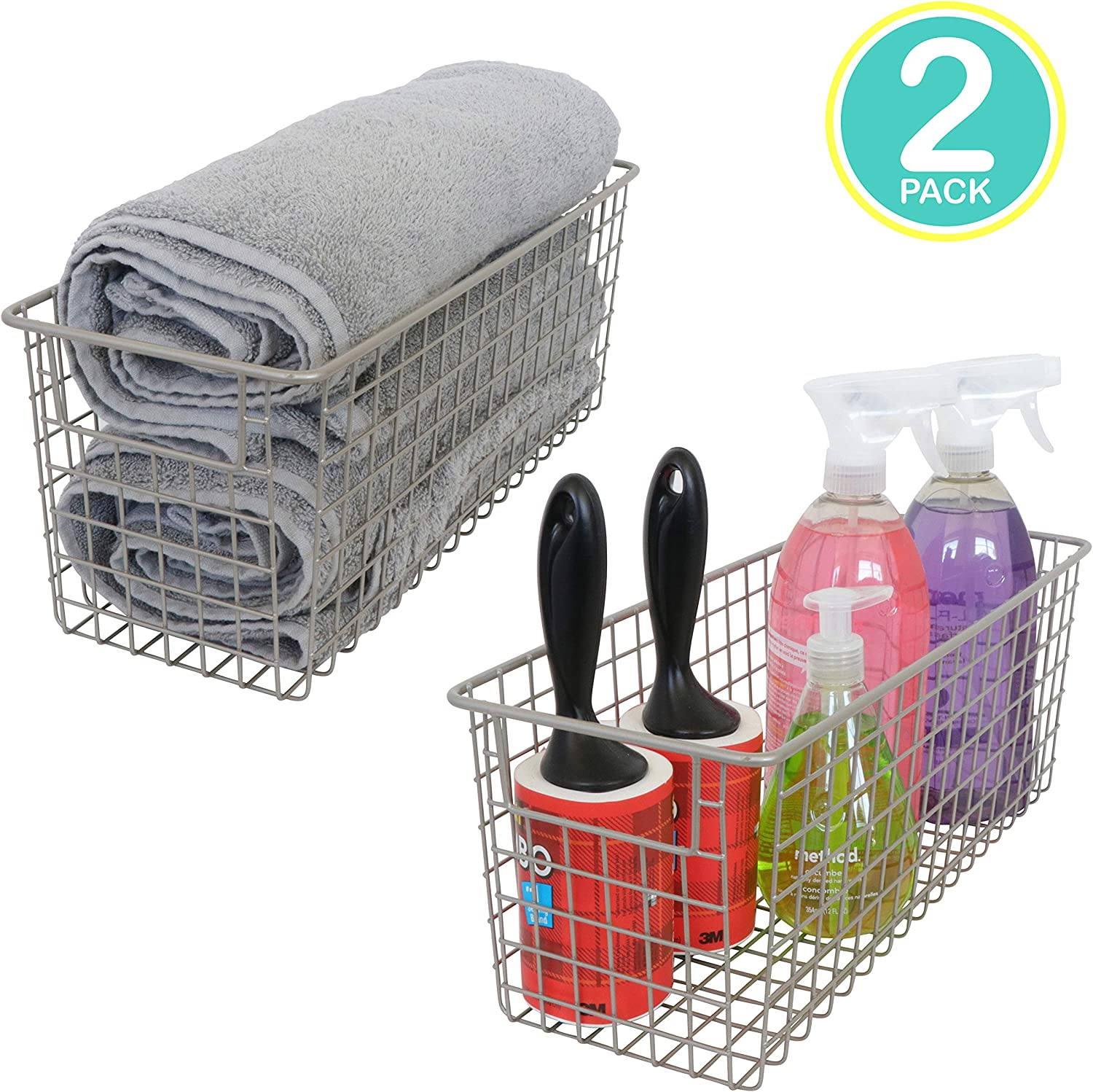 "Kitchen Basics 101 Small Farmhouse Metal Wire Storage Basket Bins with Handles 16"" x 6"" x 6"" Closets, Shelves, Cabinets, Bathrooms (Satin, 2)"