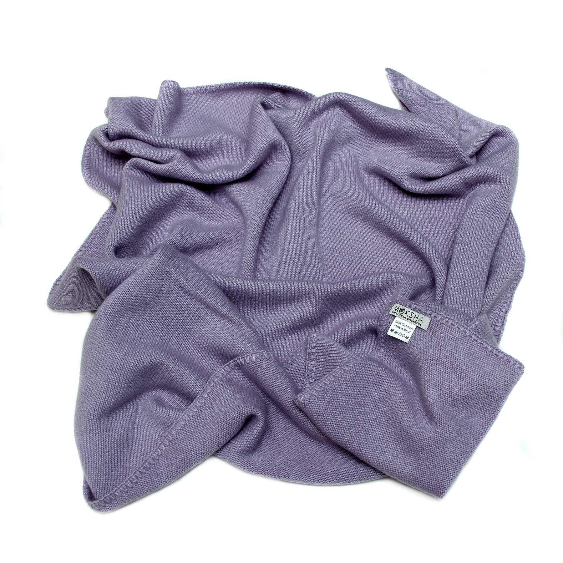 100% Cashmere Baby Blanket, 4 Ply Mongolian 26/2 Yarn Cashmere, Hand-Knitte, Purple © Moksha Cashmere