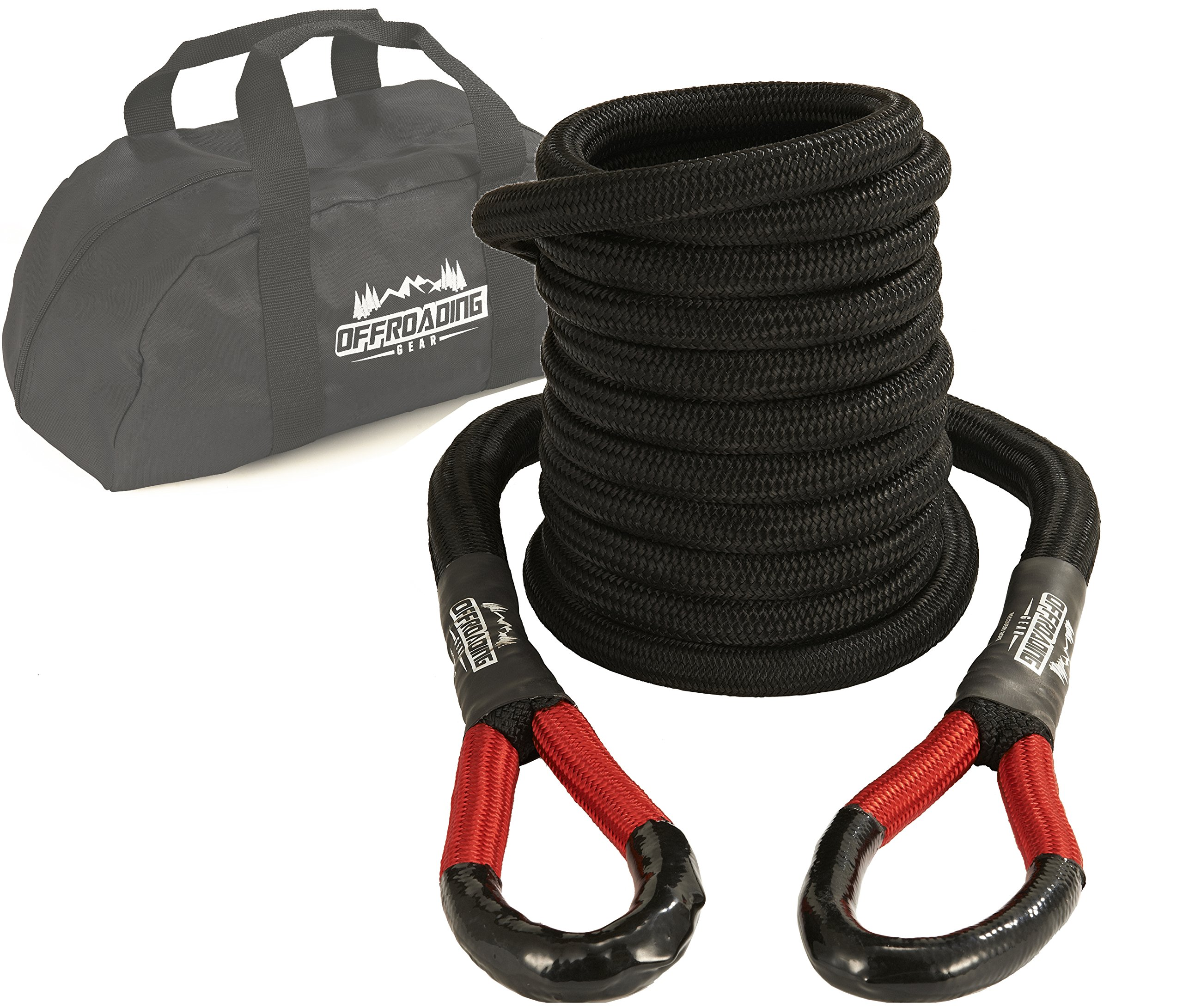 20'x7/8'' Kinetic Recovery & Tow Rope, Black (28,600 lbs) for 4x4/Off-Roading/Jeep/Car/SUV/ATV by Offroading Gear