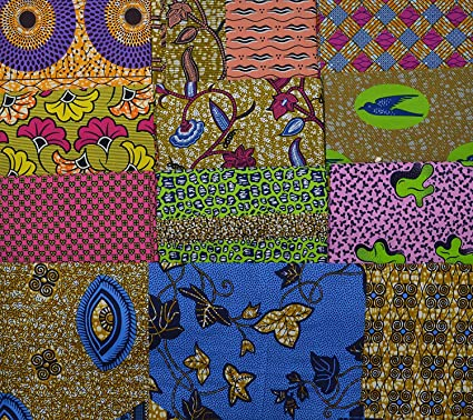 African Wax Fabric \u2022 Blue and Yellow African Print Fabric \u2022 Sold by the Yard