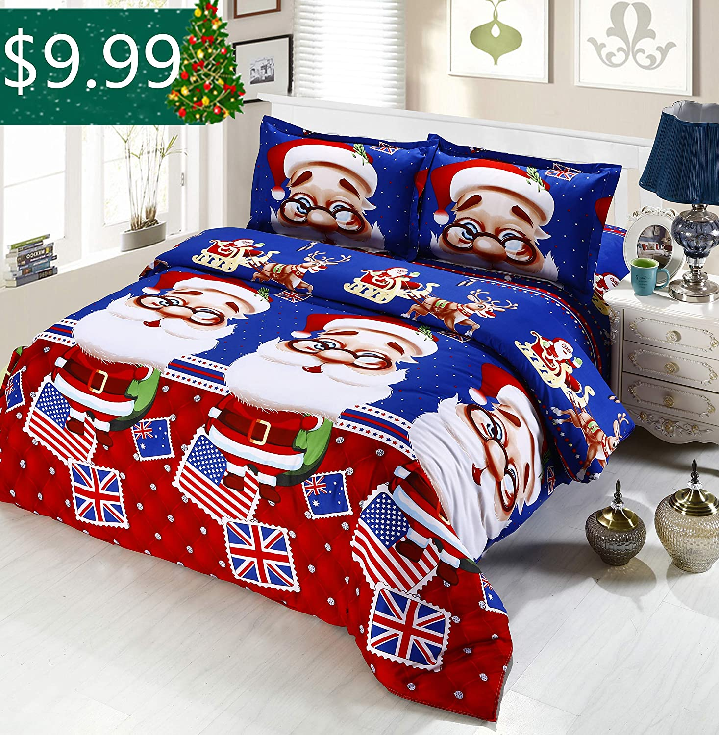 Oliven 4 Pieces 3D Christmas Bedding Set Queen Size Cartoon Santa Claus Duvet Cover Flat Sheet Standard Pillowcases-Blue,Christmas Home Decor