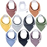 Little Munchkins 10 Pack Solid Color Baby Bandana Drool Bibs for Boys, Unisex - Organic Cotton - Absorbent - Soft…