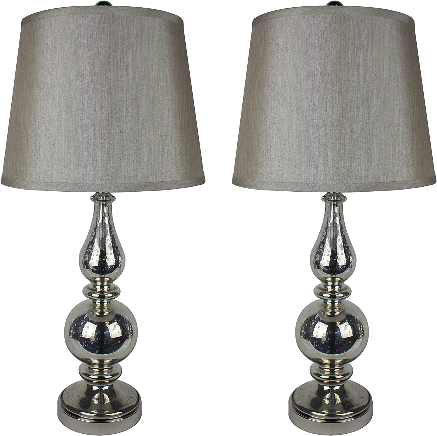 Urbanest Set of 2 Andelain Table Lamps in Antique Silver Glass with Champagne Silk Shades Antique Silver With Champagne Shades