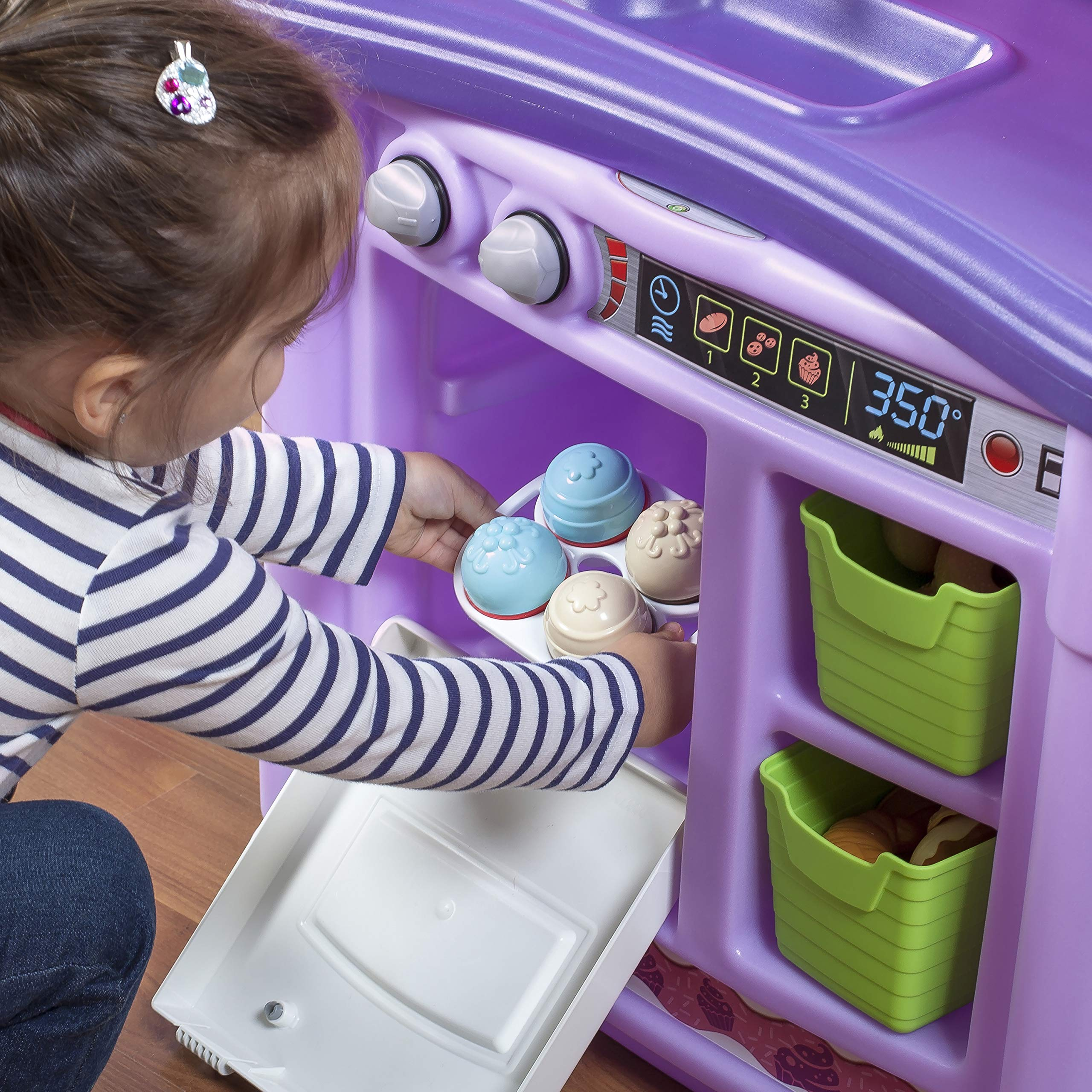 Step2 Create & Bake Play Kitchen with Toy Baking Set, Pink & Purple, 40'' H x 34.25'' W x 12'' D by Step2 (Image #3)