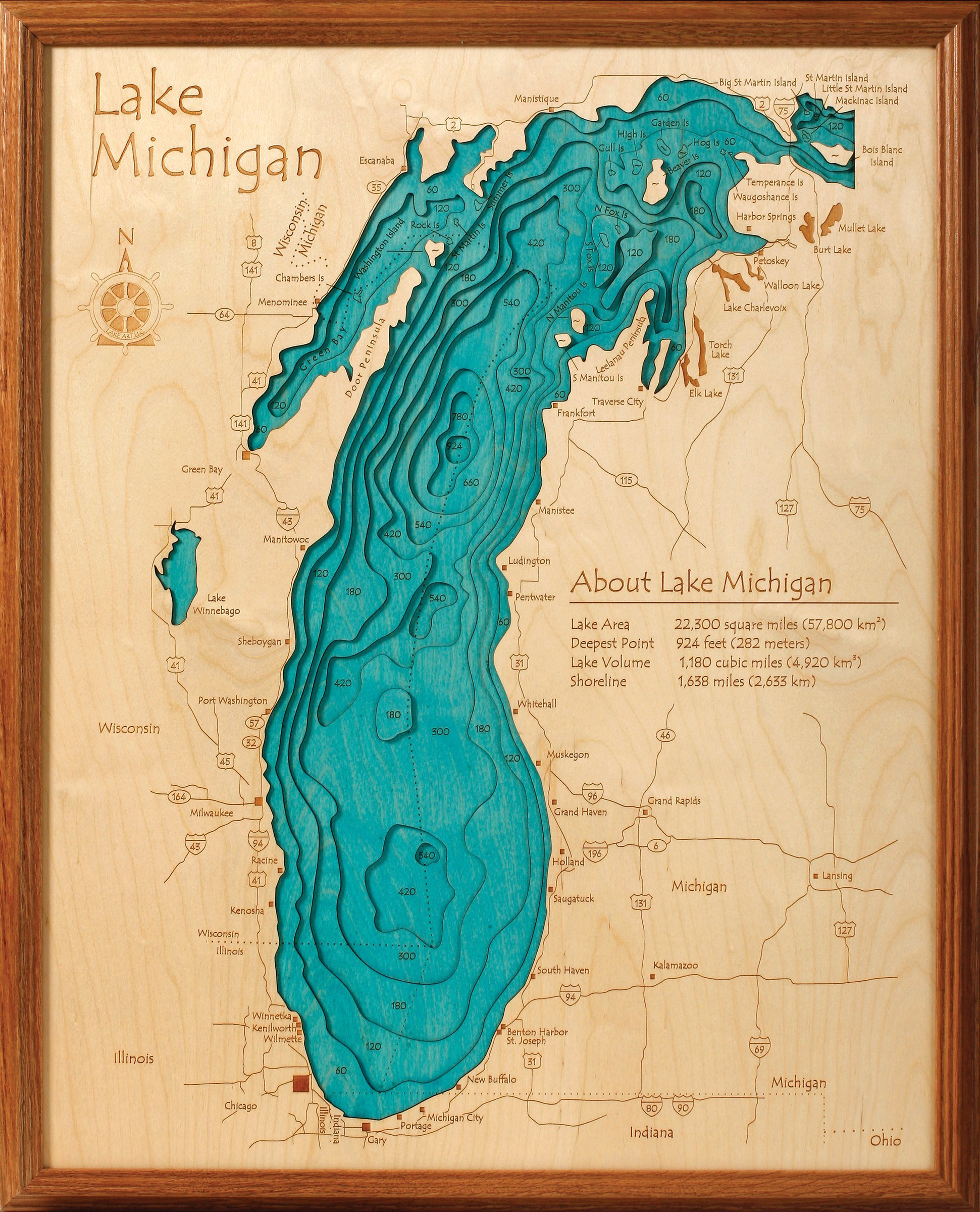 Lake Michigan in Great Lakes, GL - 3D Map 16 x 20 IN - Laser carved wood nautical chart and topographic depth map. by Long Lake Lifestyle