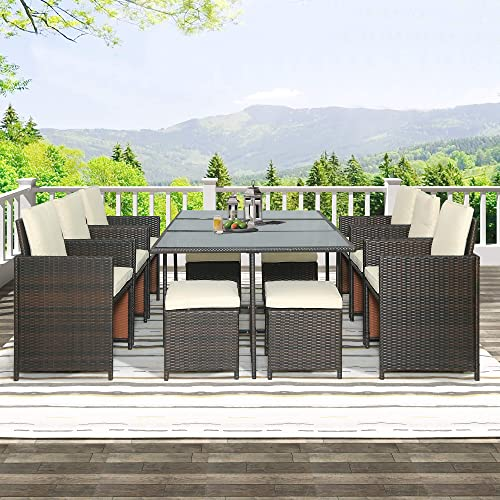 LZ LEISURE ZONE Patio Furniture Dining Set Outdoor Garden Brown Wicker Rattan Dining Table Chairs Conversation Set