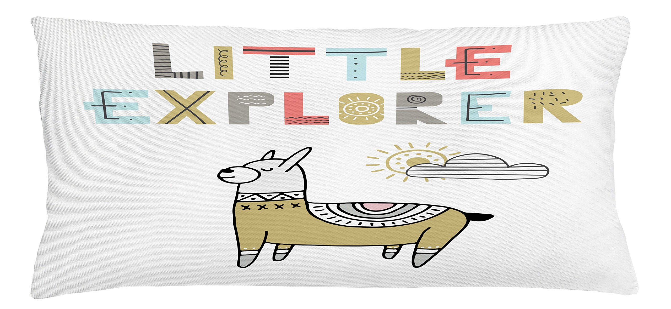 Ambesonne Kids Throw Pillow Cushion Cover, Hand Drawn Colorful Llama on Sunny Day with Little Explorer Quote in Colorful Letters, Decorative Square Accent Pillow Case, 36 X 16 Inches, Multicolor