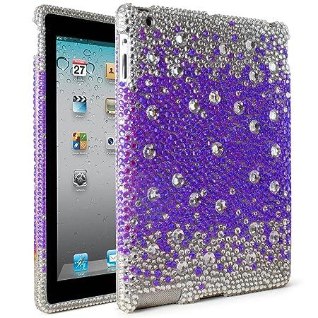 DMG Shiny Rhine Stone High Impact Hard Back Cover Case for Apple iPad 2/3/4  Purple