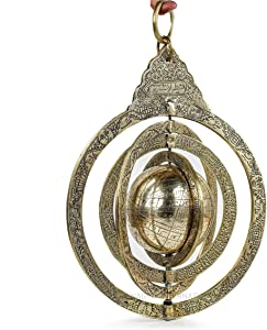 Nagina International Decorative Hanging & Standing Solid Antique Brushed Brass Armillary Sphere | Nautical Antique Globes | Vintage Decor Ornaments (Hanging Pear Sphere)