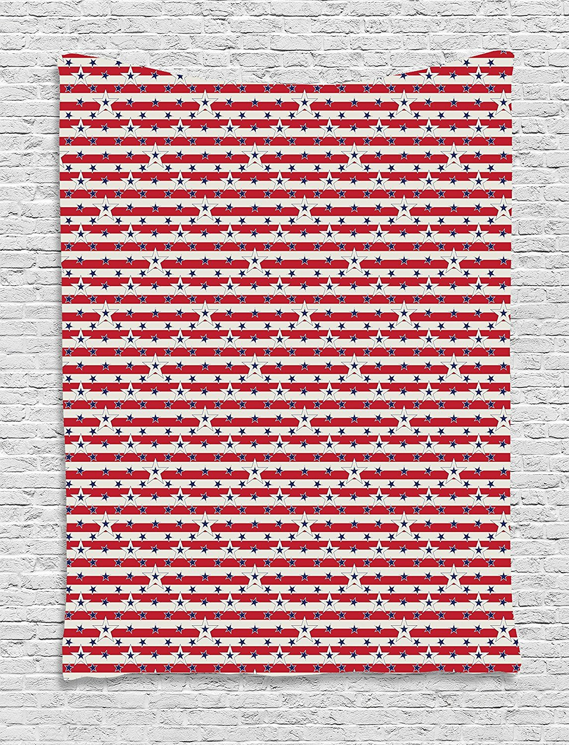 asddcdfdd 4th of July Tapestry, Stripes with Stars Freedom and Liberty of the USA National Holiday, Wall Hanging for Bedroom Living Room Dorm, 60 W X 80 L Inches, Royal Blue Biege Red by asddcdfdd