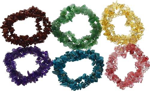 Hecho a mano de varios colores Semi Preciosas Piedras Preciosas Cristal Curativo fichas Pulsera