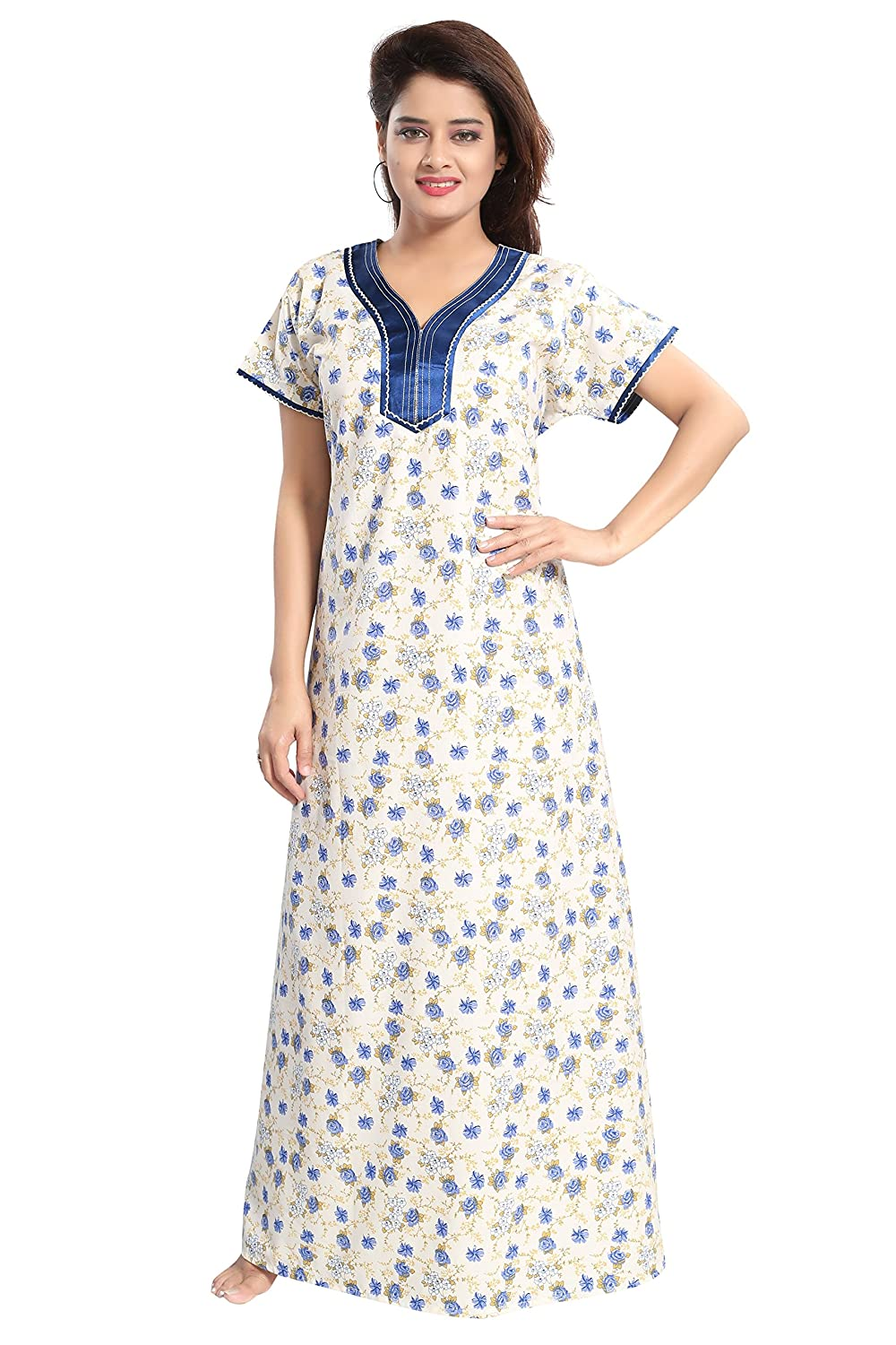 4168482924 TUCUTE Womens Premium Cotton Fabric Nighty Night Gown Nightwear Nightdress  with Small Floral Print.  Amazon.in  Clothing   Accessories
