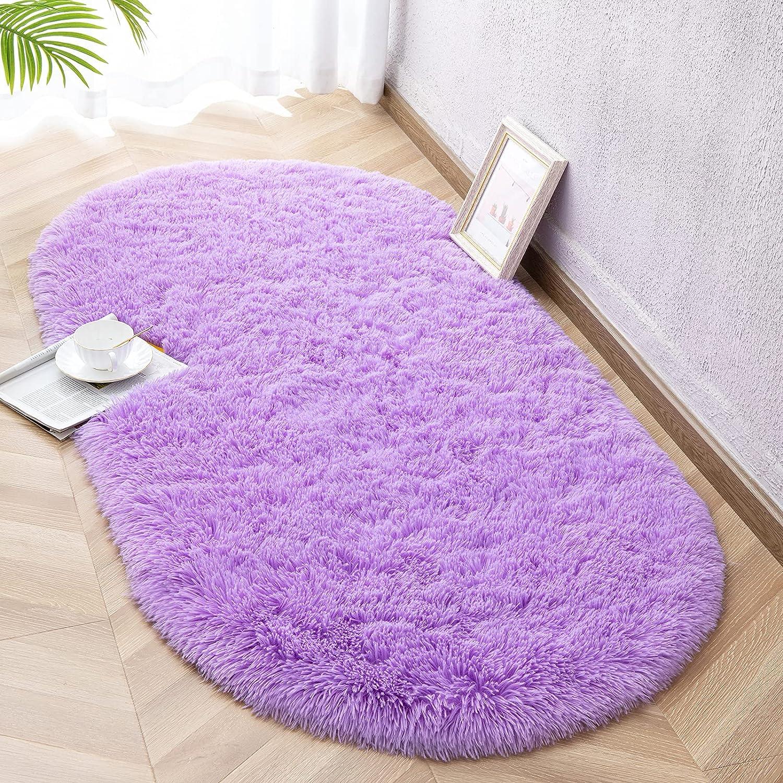 Vasofe Purple Fluffy Rugs for Bedroom Living Room,'Shaggy Oval Rug for Kids Room Cute Room Decor for Baby,Fuzzy Carpet for Teen's Girls Dorm Room Nursery Room 2.6 x 5.3 Feet Purple