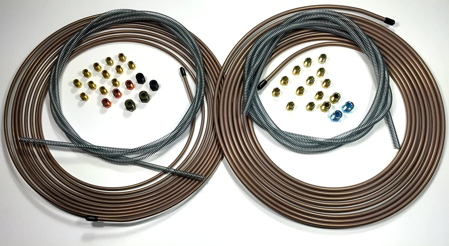 "Brake Line Kit 25 ft of 1//4/"" Roll with 14 Fittings and 8 ft of Spring Guard"