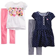 Simple Joys by Carter's Toddler Girls' 4-Piece Playwear Set, Navy Dot/Happy/Pink, 2T