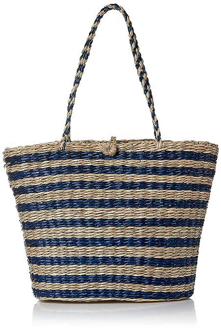 Amazon.com  Women Straw Woven Handbag  Handmade Blue and White Beach Tote  Bag  Shoes 7c7b4c8bb5