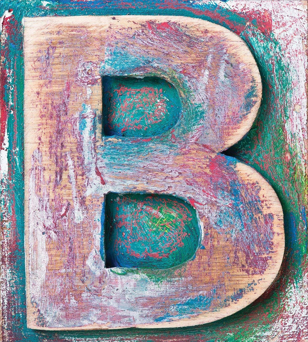 Letter B Bedding Duvet Cover Sets for Children/Adult/Kids/Teens Twin Size, Old Fashioned Print Method Wood Block Alphabet ABC Type Worn Capital B, Hotel Luxury Decorative 4pcs, Teal Ivory Dark Coral by Family Decor (Image #2)