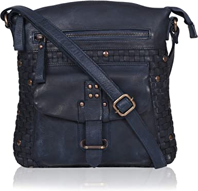 Vintage Women/'s Leather Leather Navy Blue P.37
