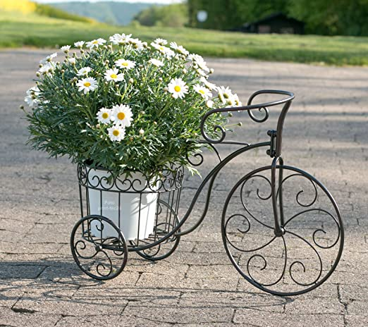 Macetero bicicleta metal negro Deko de bicicleta con cesta florero ...