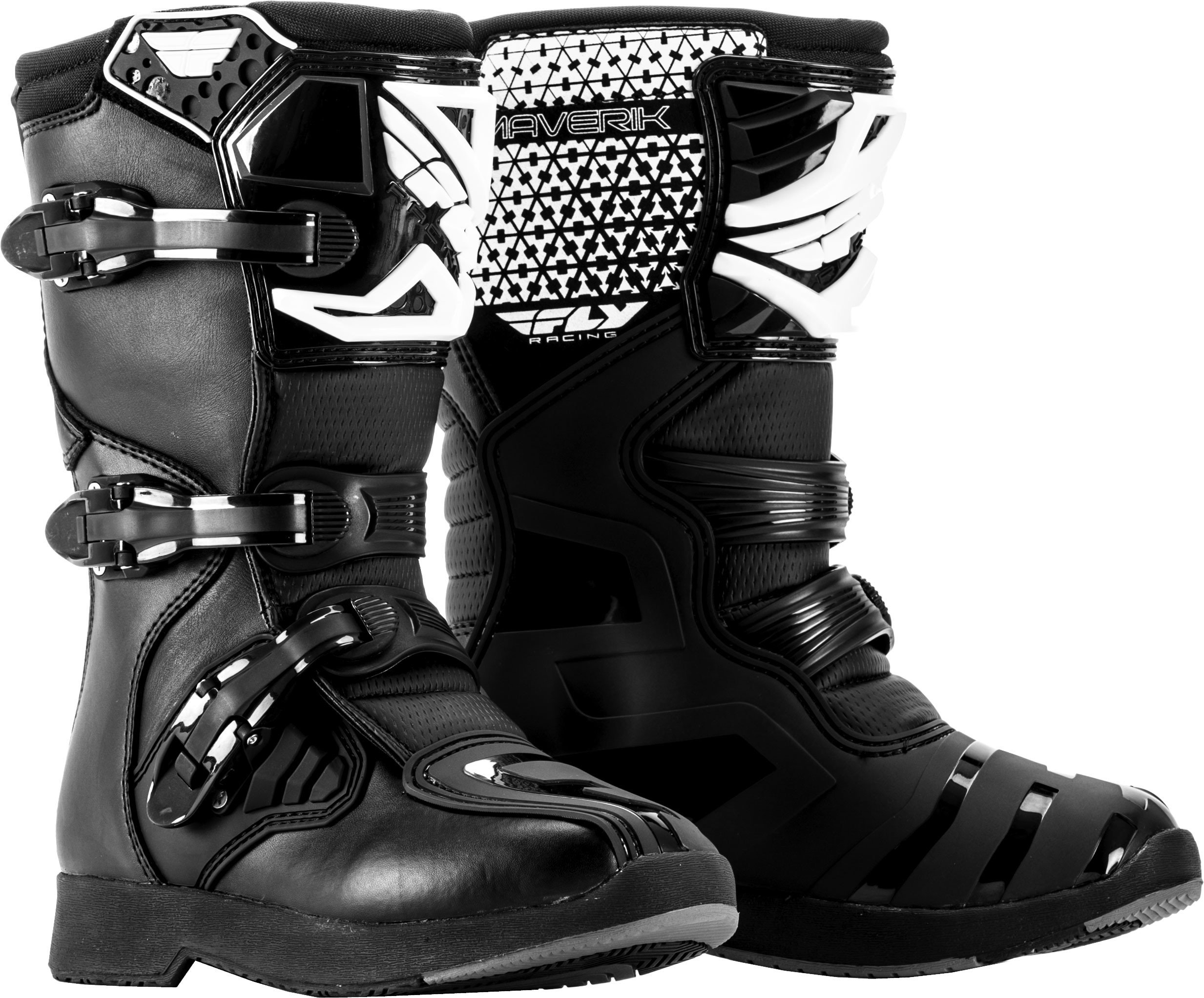 Fly Racing Unisex Youth Maverik MX Boots (Black, Size 4) by Fly Racing