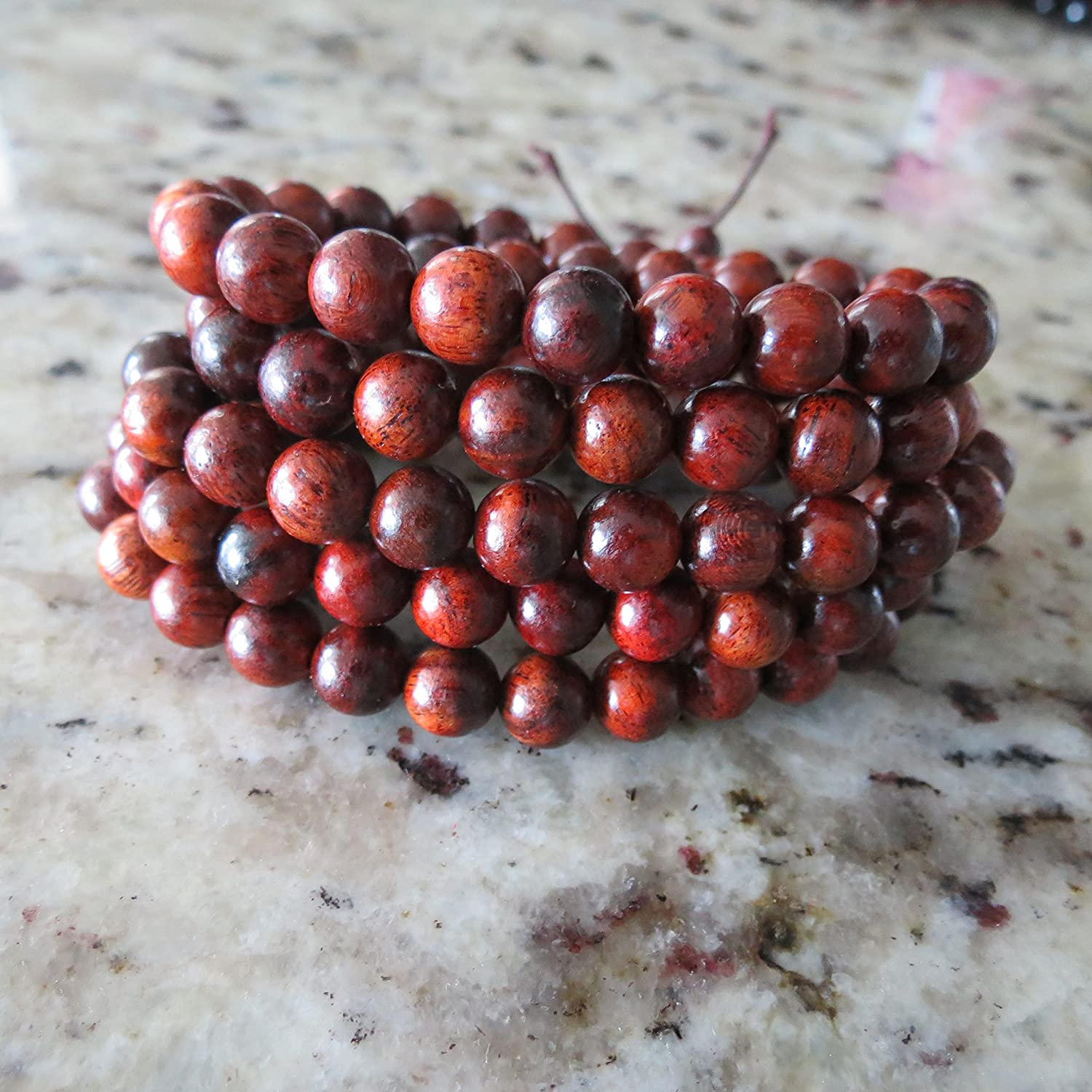8mm*108 RoseWood(Color is more red) Beads Tibet Buddhist Hand Made Prayer Mala Miyallu (Ship from Canada)