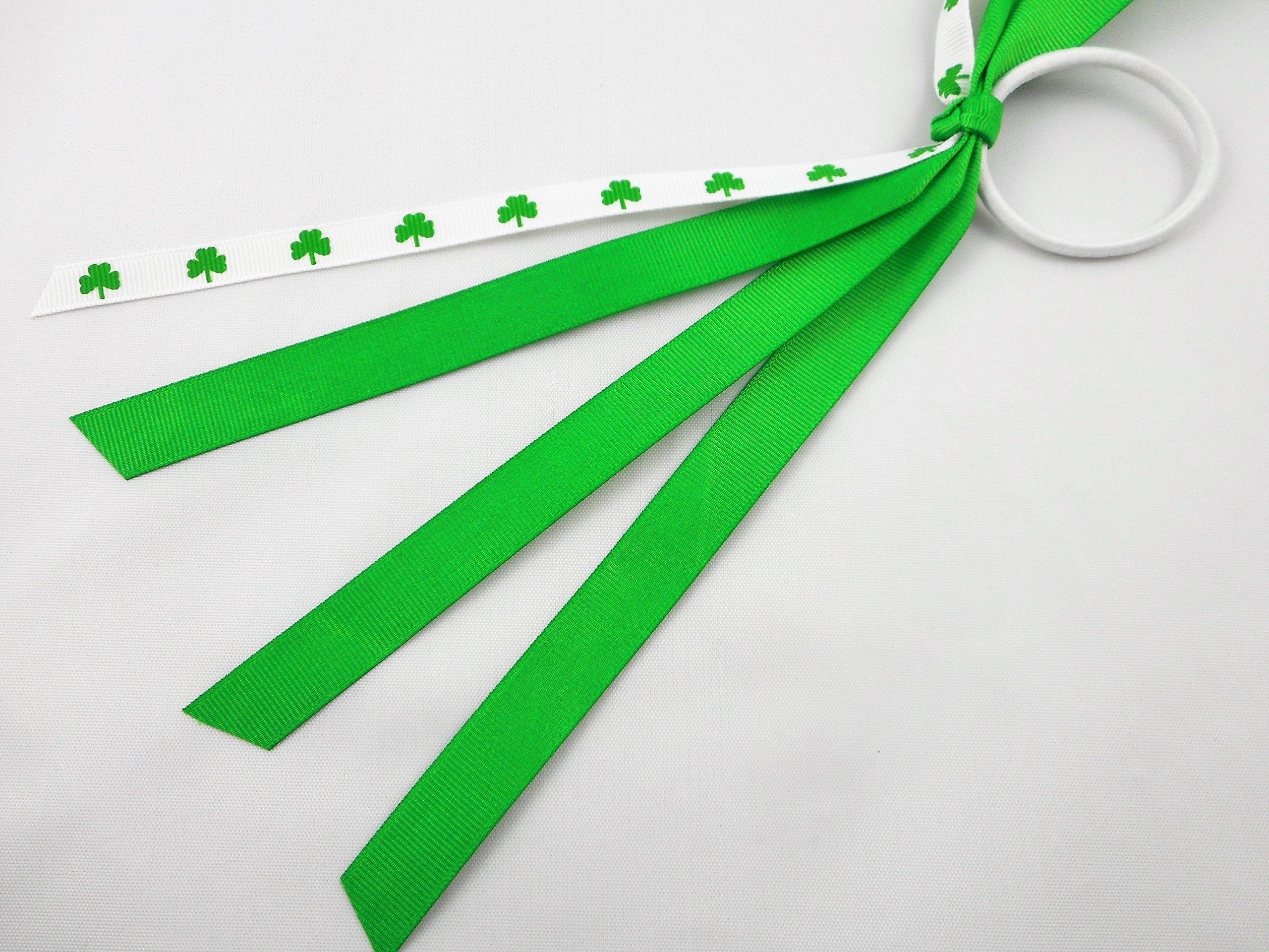 Shamrock Pony Ribbons, Hair Ties, Pony Ribbon Streamers, Pony Tail Holder by Missy Moo Designs