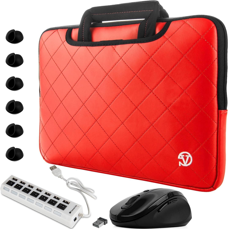 "Red Slim Diamond Laptop Sleeve Mouse USB Hub Cable Organizers for Lenovo Flex IdeaPad ThinkPad Yoga 14"" to 15.6 inch"