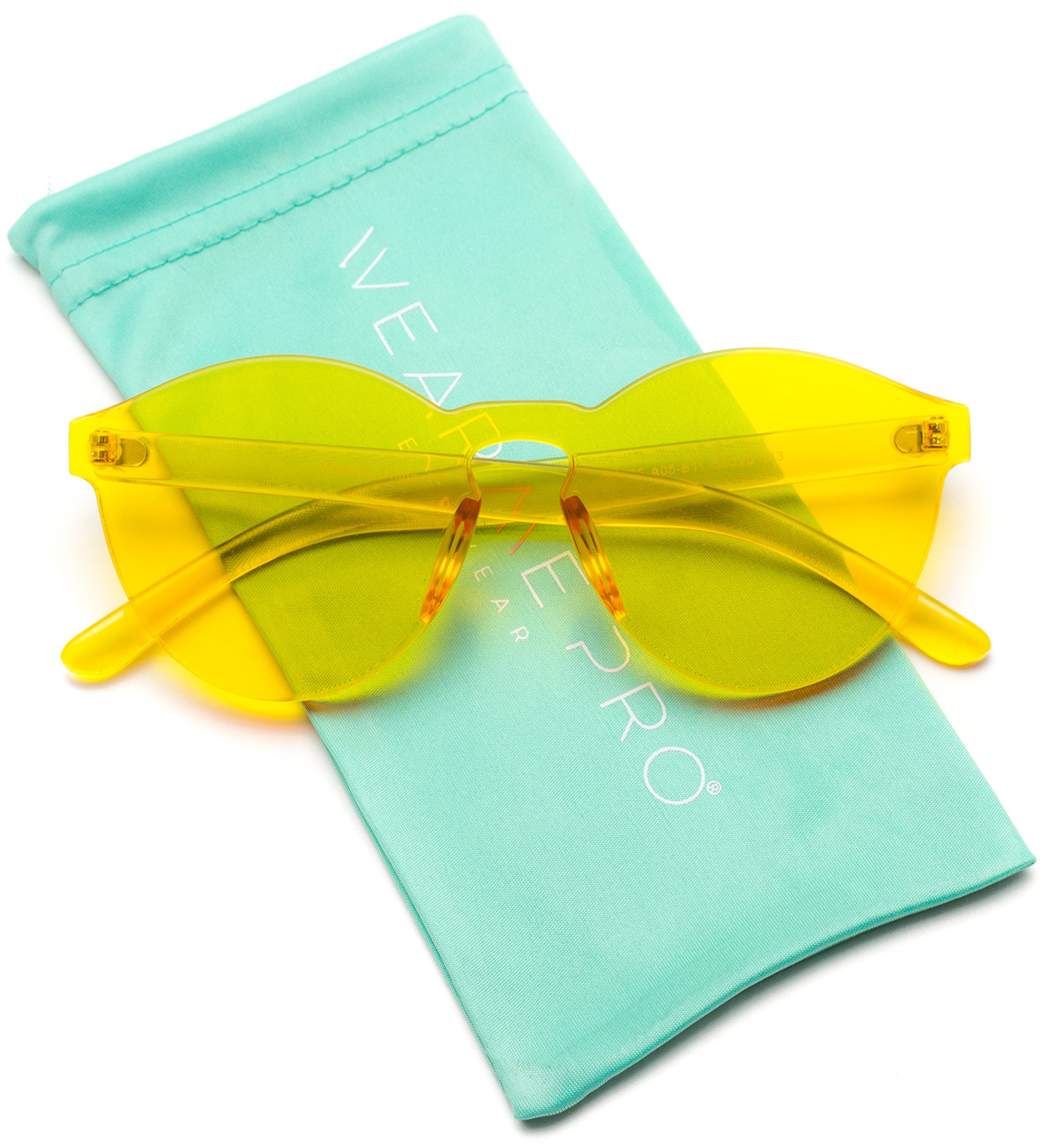 WearMe Pro - Colorful One Piece Transparent Round Super Retro Sunglasses by WearMe Pro
