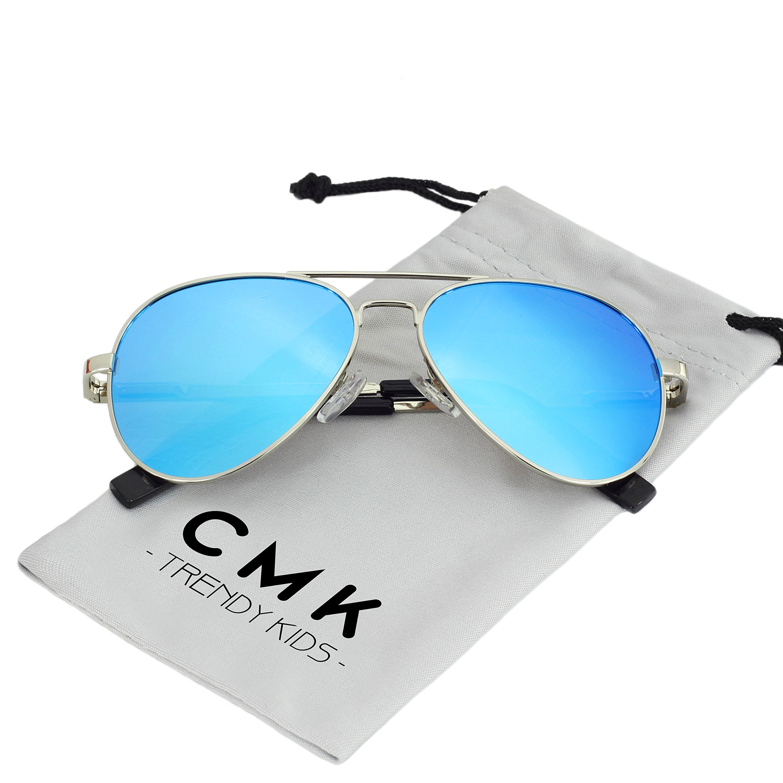 CMK Trendy Kids Kids Small Polarized Aviator Sunglasses for Boys and Girls or Small Face Adults, 52mm (Blue, 52)