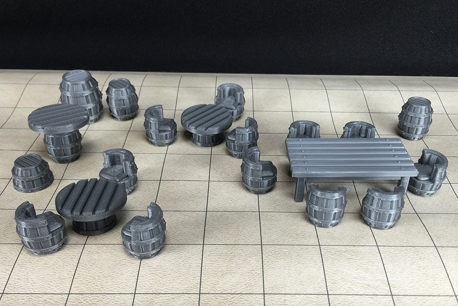 Tavern Table & Chair 28mm Gaming Set 23 Unpainted Pieces 3D Printed by Sunshine Chowder