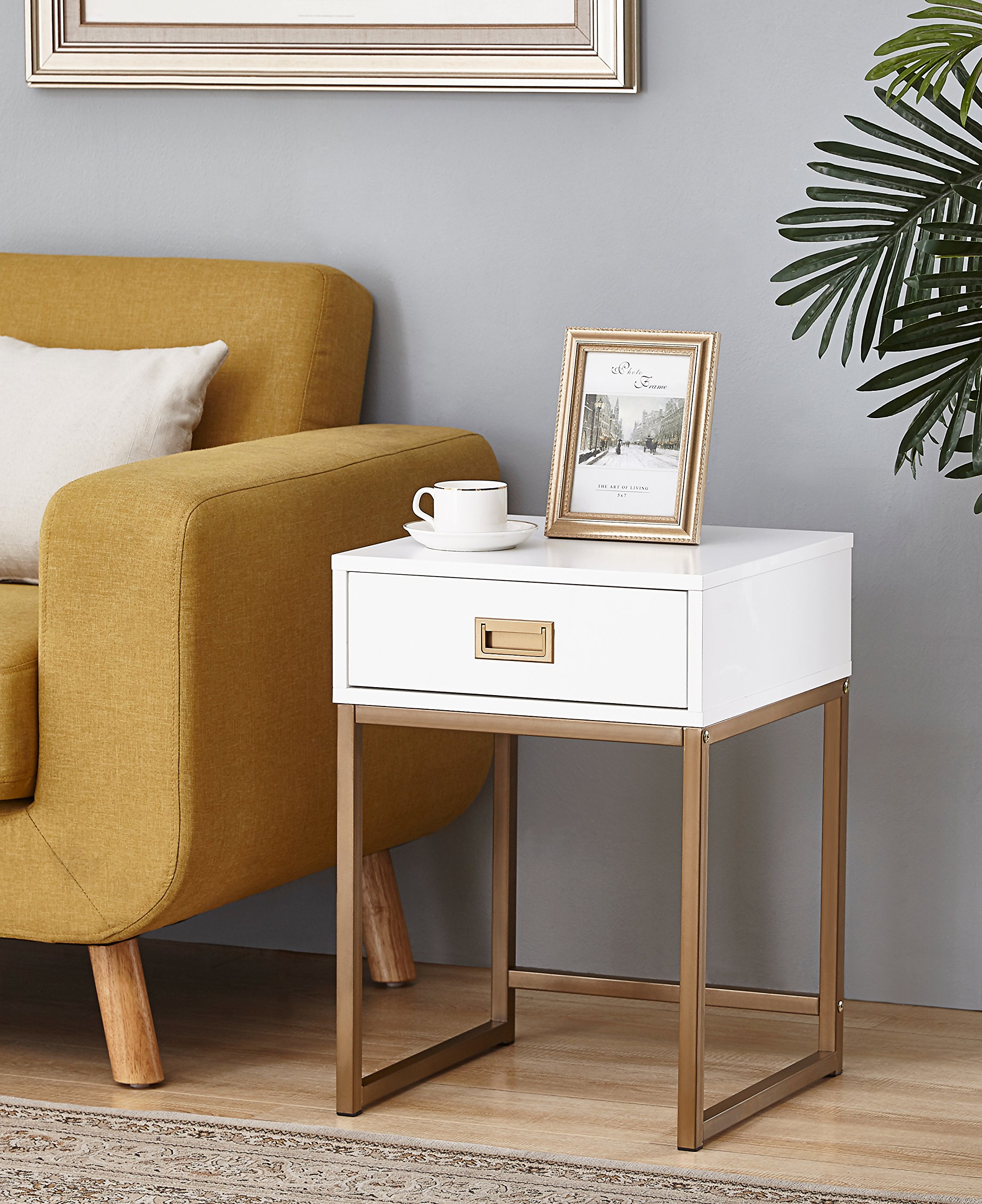 White / Golden Finish Modern Nightstand Side End Table with Drawer