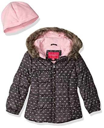 f6f3d579b Amazon.com  London Fog Girls  Quilted Puffer Jacket with Fleece Hat ...