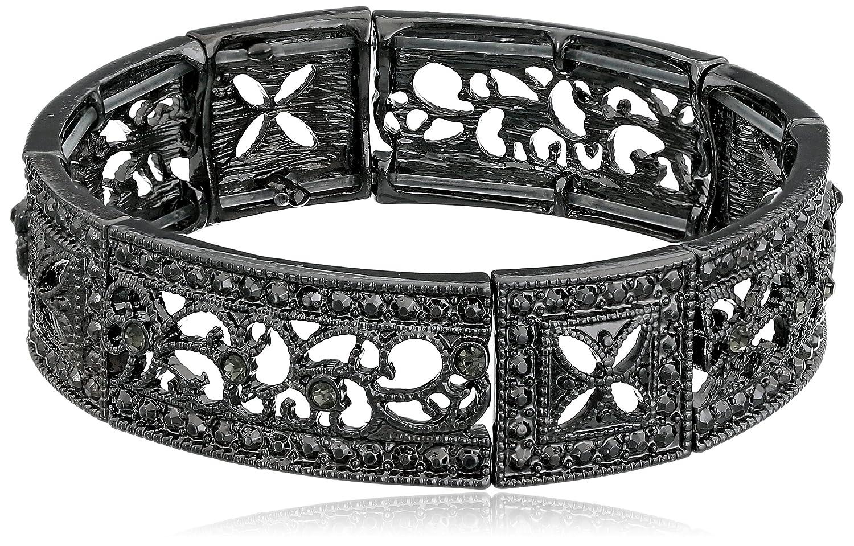 1928 Jewelry Vintage Lace Crystal Filigree Stretch Bracelet 62866