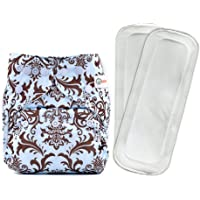 Bumberry Reusable Diaper Cover and 2 Wet Free Inserts (3-36 Months) (Blue Brown Royal)