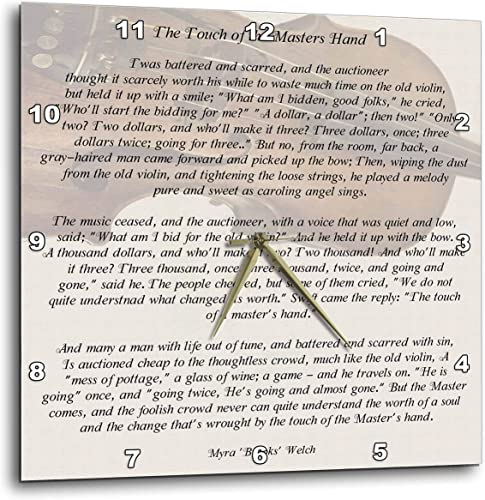 3dRose DPP_157881_2 The Touch of The Masters Hand Inspirational Poem Penned by Myra Brooks Welch Violin Background Wall Clock, 13 by 13