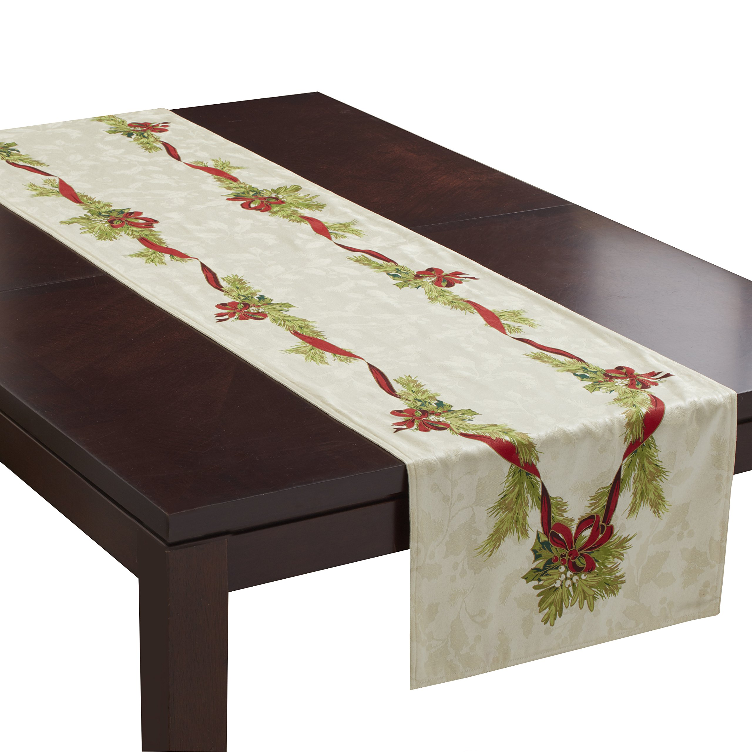 Benson Mills Christmas Ribbons Engineered Printed Fabric Table Runner, 16''x 90''