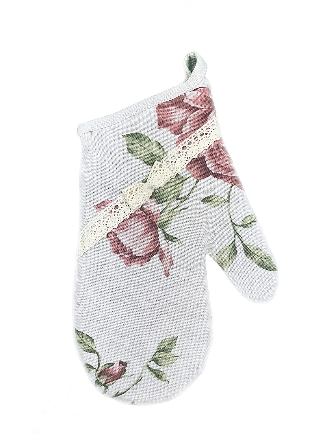 Provence Cotton Oven Mitt with Cotton Lace in French Country Style, 6'' x 13'', Pink Rose