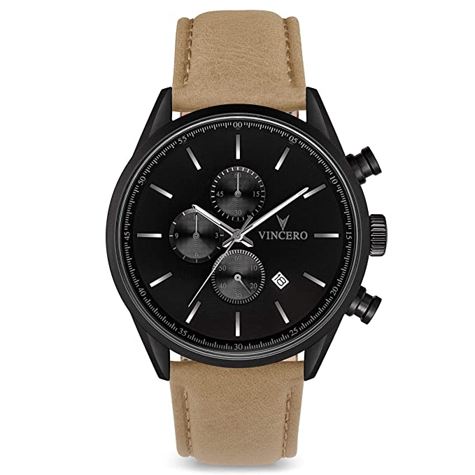 Vincero Luxury Men's Chrono S Wrist Watch - 43mm Chronograph Watch - Japanese Quartz Movement (Matte Black/Sandstone)