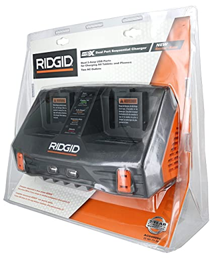 Ridgid AC840094 Gen5X Dual Port 18V Lithium Ion and NiCad Battery Charger with Pass-Through AC Ports and USB Charging (Batteries Not Included, Charger ...